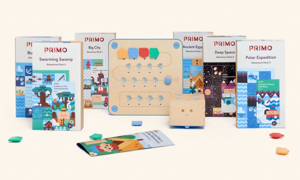 Cubetto, the wooden robot that teaches kids coding and computer programming. New maps for Kickstarter 2017, Polar Expedition and Swarmy Swamp. Product shot.