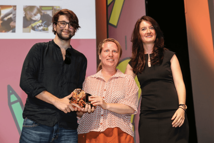 Cannes Lions awards, Valeria and Filippo accepting for Cubetto by Primo Toys