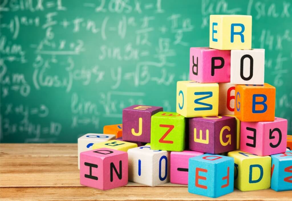 Learning toys for kids, wooden blocks and blackboard