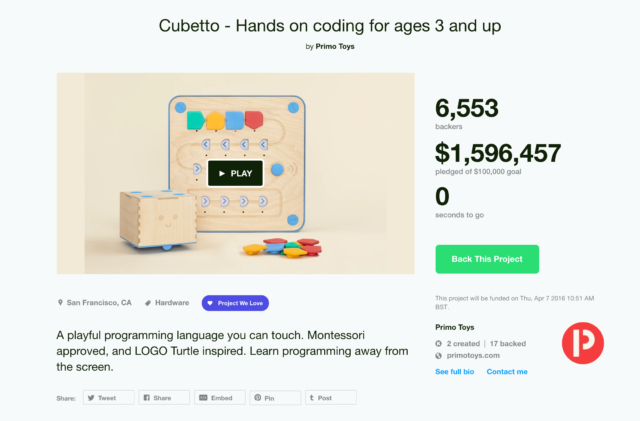 Cubetto becomes most-funded edtech invention in Kickstarter history! - April 2016