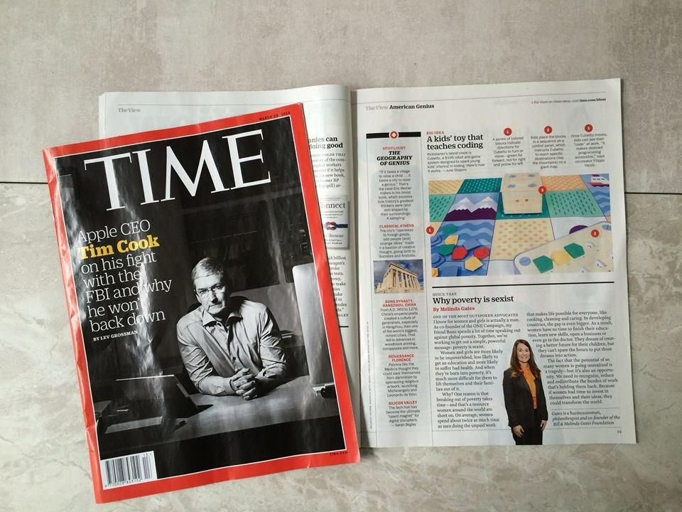When TIME calls, we answer! Cubetto features as TIME's 'Big Idea' - April 2016